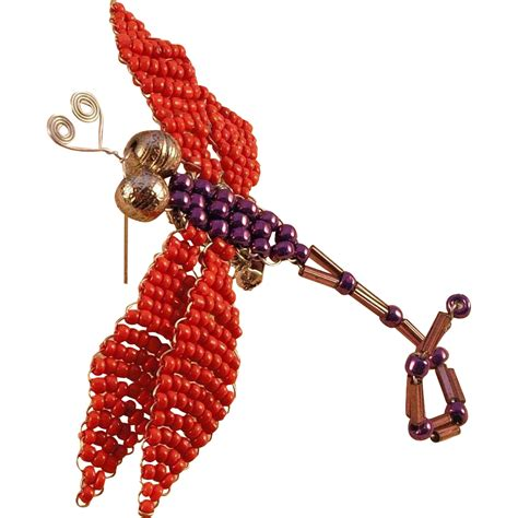 beaded dragonfly purple beaded dragonfly pin from musibows on ruby