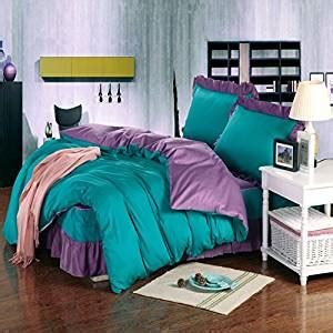 4 green ruffle comforter set in size new lt size 100 cotton 4 pieces green lavender purple solid color plain