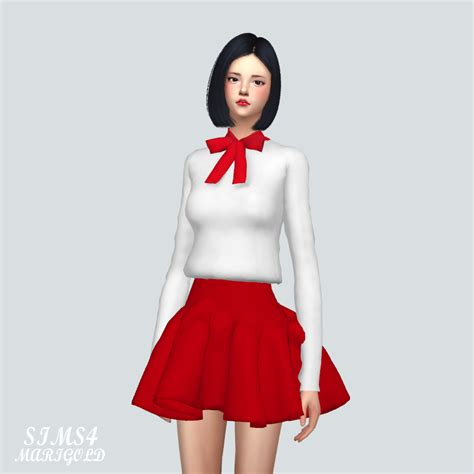 ribbon simple blouse ribbon simple blouse sims4