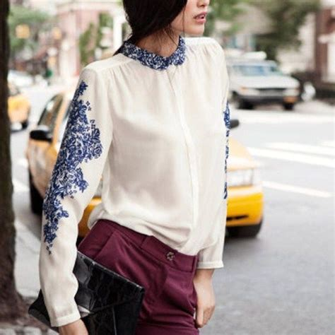 Kemeja Motif Wanita T40014 kemeja wanita putih motif cantik model terbaru jual murah import kerja