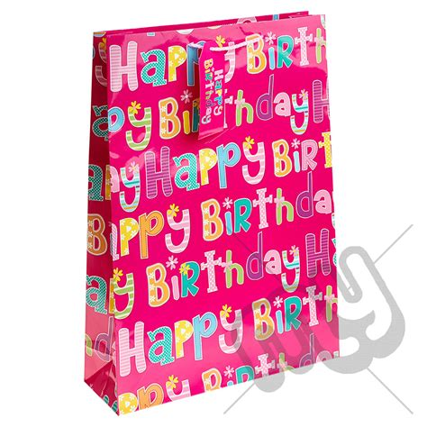 pink girly happy birthday gift bag large x 1pc