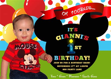 Birthday Invitation Card Mickey Mouse Mickey Mouse 1st Birthday Invitation