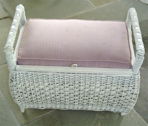 white wicker ottoman white wicker reclining lawn chair and ottoman at 1stdibs