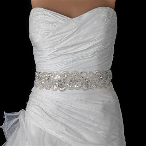 white beaded belt sheer white beaded sequin rhinestone bridal belt 294
