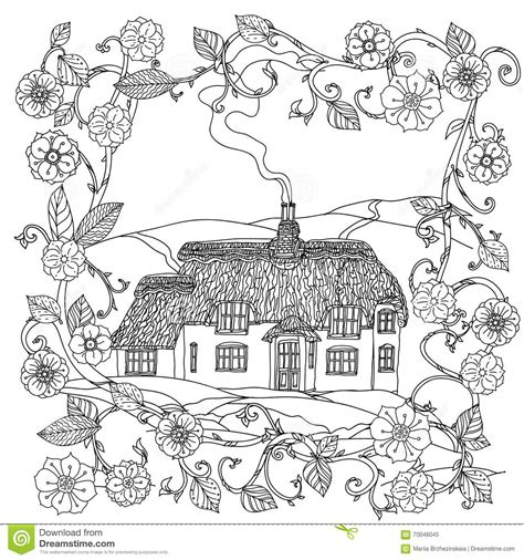 coloring pages for adult in zenart style antistress coloring page house spring pattern stock vector image of back cute