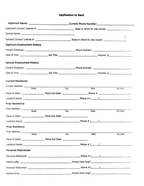 Rental Credit Application Form Template Forms