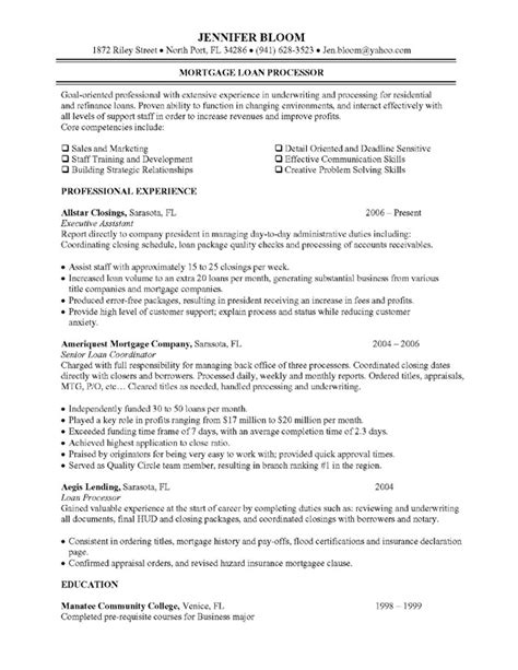 Entry Level Loan Processor Resume Sle Mortgage Loan Processor Description Resume Objective Exles Loan Processor