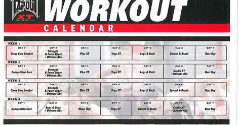 printable tapout xt calendar tapout xt workout calendar 187 calendar template 2018