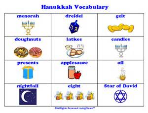 hanukkah vocabulary printable vocabulary chart and learn