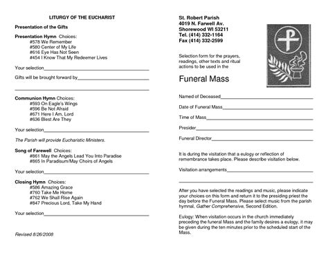 9 Best Images Of Catholic Funeral Program Template Catholic Funeral Mass Program Sle Catholic Funeral Mass Template