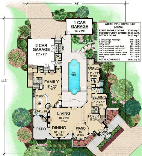 courtyard style house plans plan 36143tx mediterranean with central courtyard house plans o connell and house