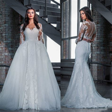 Dress Model White 2in1 Style Impor fashion lace wedding dresses with detachable skirt 2016 princess mermaid sleeves see