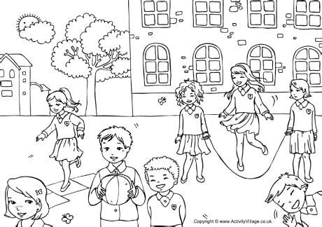 coloring pages school playground playground colouring page