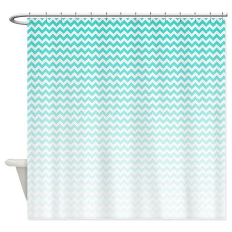 aqua and white chevron curtains aqua ombre chevron shower curtain by bwcdesigns