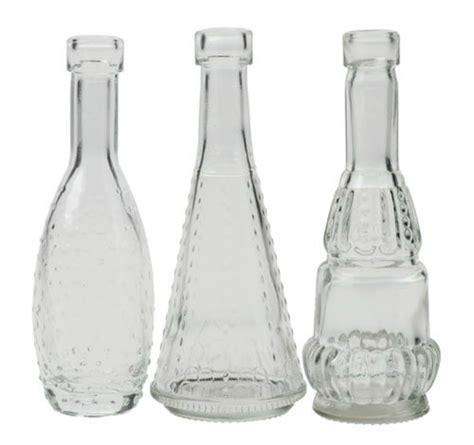 bottles mini vintage glass bud vase set of 3 flowers