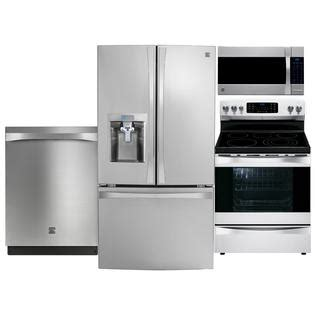 kenmore elite kitchen appliances stainless steel refrigerator range microwave