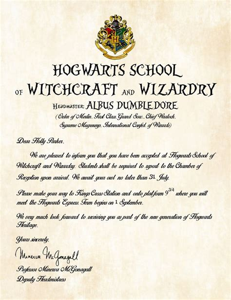Hogwarts Acceptance Letter Birthday Personalized Hogwarts School Of Witchcraft And Wizardry Acceptance Letter