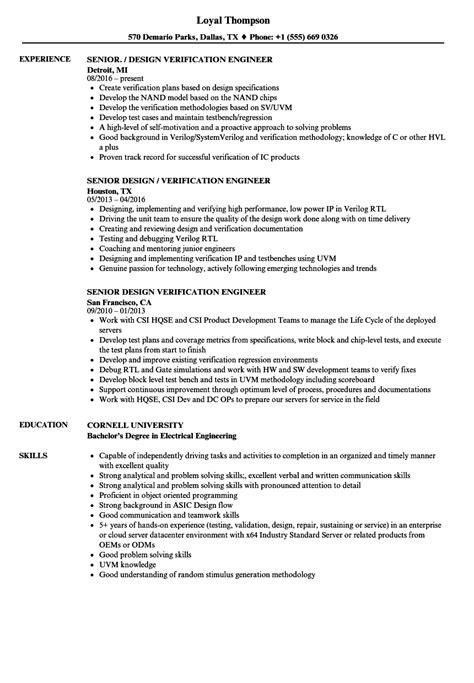 Design Verification Engineer Sle Resume by Senior Design Verification Engineer Resume Sles Velvet