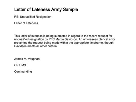 Commitment Letter For Being Late Army Justification Memo Exle Newhairstylesformen2014