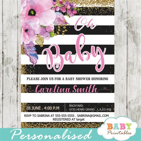 Pink Black And White Baby Shower Invitations by Pink Floral Baby Shower Invitations Gold Glitter Black