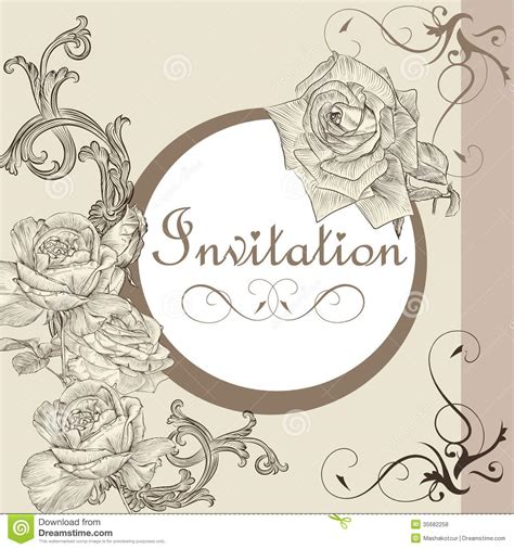 design invitation card vintage vintage invitation card with roses stock vector image