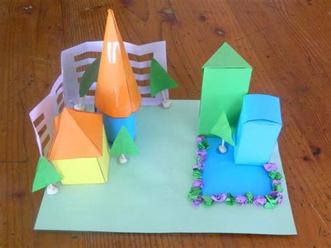 How To Make Solid Shapes With Paper - use 3d shape nets to create a cardboard construction each