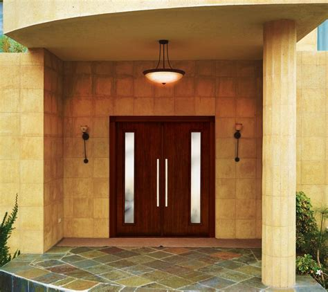 contemporary double door exterior beauty shot of a fully cladded fiberglass contemporary