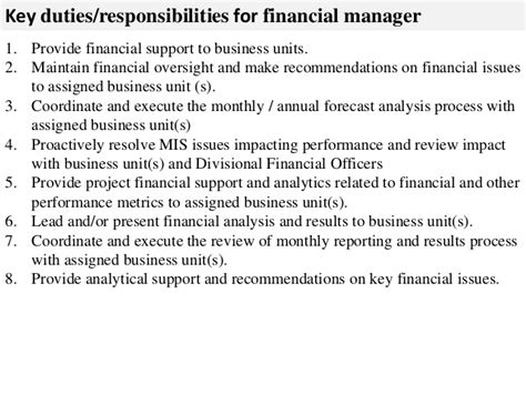 Duties Of Finance Manager by Financial Manager Description