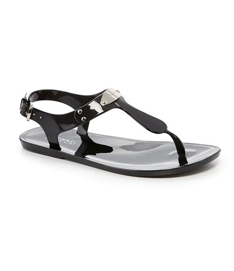mk jelly sandals michael michael kors mk plate jelly sandals in black lyst