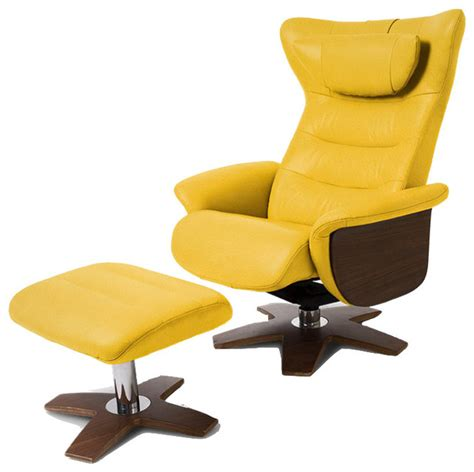 Yellow Leather Chair With Ottoman Design Ideas Verra Recliner And Ottoman Yellow Contemporary Recliner Chairs By World Source Design Llc