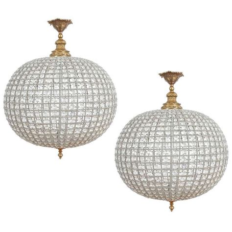 Crystal Ball For Chandelier Pair Of Crystal Basket Ball Chandeliers Pendant Lighting
