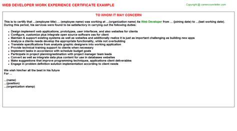 Experience Letter Web Developer Web Developer Experience Letter Sle