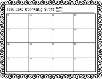 Free Blank Task Card Recording Sheets By Teaching With A Mountain View Task Card Template 2