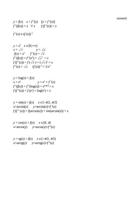 dispense matematica generale funzioni inverse dispense
