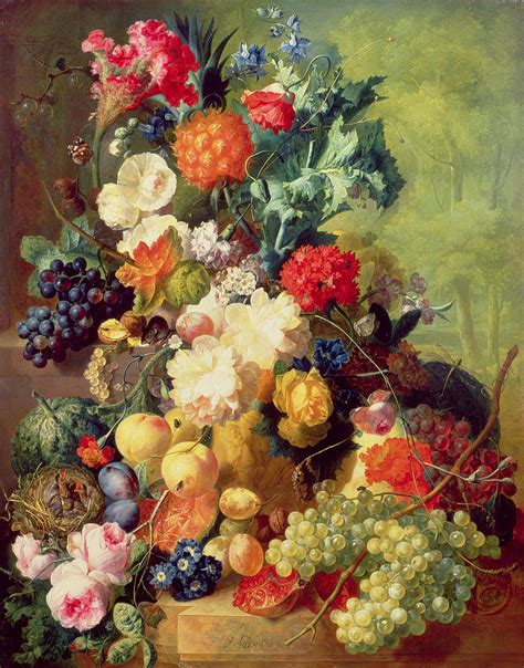 flowers and fruit still with flowers and fruit by jan os