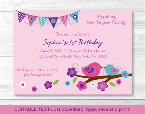 free editable printable birthday invitations spring bird printable birthday invitation editable pdf ebay