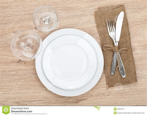 how to set a table with silverware empty plate wine glasses and silverware set stock image