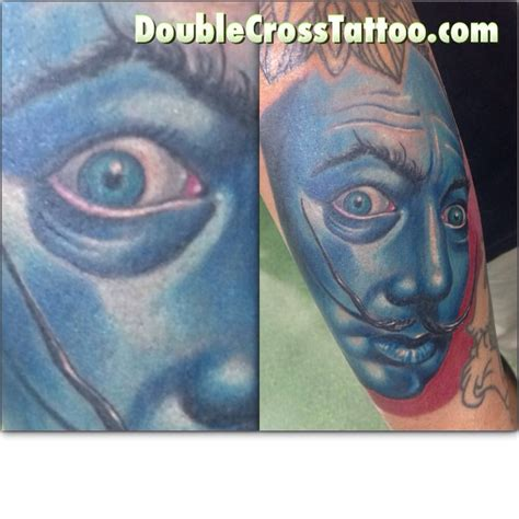 double cross tattoo salvator dali color portrait done by photelo at