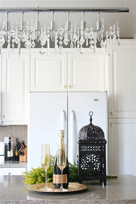 Linear Strand Crystal Chandelier Transitional Kitchen Linear Strand Chandelier