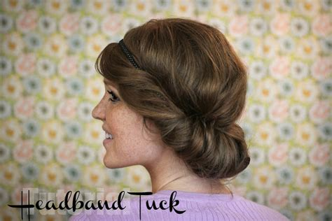 tuck in hairstyles the freckled fox hair tutorial the easy headband tuck