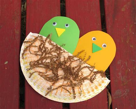 Bird Paper Plate Craft - paper plate bird nest july august pre k ideas