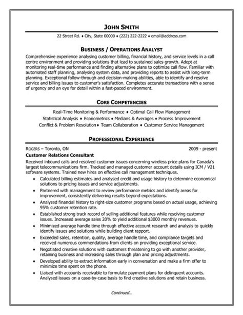 business or operations analyst resume template premium