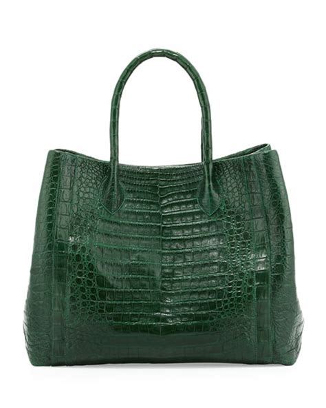 Nancy Gonzalez Latticework Crocodile Tote by Nancy Gonzalez Crocodile Convertible Tote Bag Green Matte