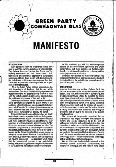 manifesto template the left archive the green election manifesto 1989