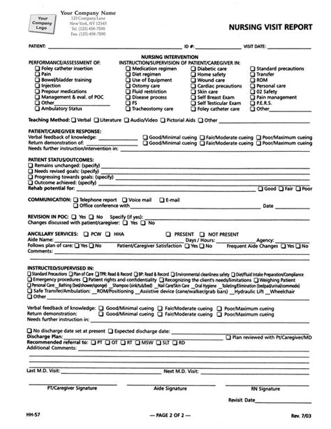 Cctv Site Visit Report Template Nursing Visit Report Form Item 5908