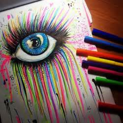 cool colored pencil drawings this is cool rainbow marker eye drawing