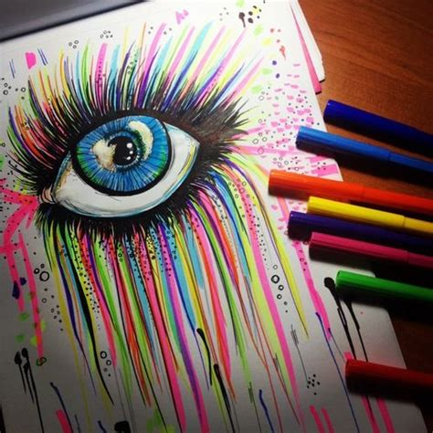 Cool Easy Things To Draw With Sharpie by This Is Cool Rainbow Marker Eye Drawing Drawing