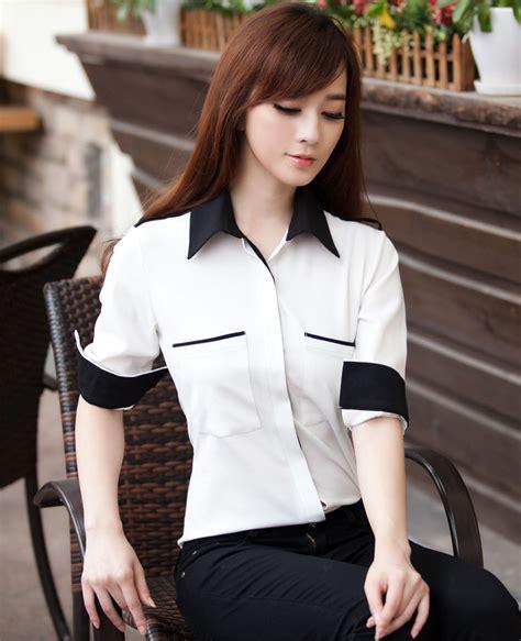 Blouse Phily White Blouse Kerja Wanita Blouse Wanita Fashionable Ll ol pockets lapel chiffon sleeve white blouse