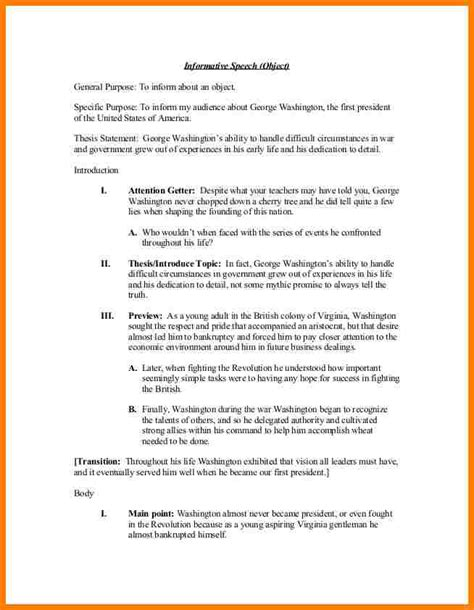 Speech Evaluation Request Letter 12 Informative Speech Outline Template Letter Format For