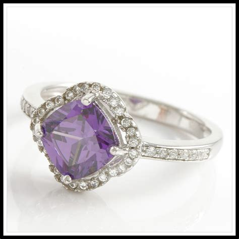 925 solid sterling silver amethyst white sapphire ring